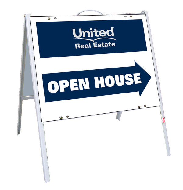 United Real Estate real estate open house A-frame and sign panel ...
