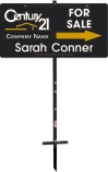 "real estate agent black for sale sign panel and t-stake unit, 24ga steel 12""x24"""