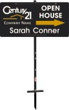"real estate agent black open house sign panel and t-stake unit, 24ga steel 12""x24"""