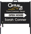 "real estate open house a-frame and black sign panel unit, 24ga steel 18""x24"""
