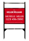 "real estate black angle iron sign frame and panel unit with two rider inserts, 24ga steel 18""x24"""