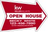 "Real Estate Open House Arrow Panel, 4mm Corrugated Plastic 18""x24"""