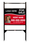 "real estate black angle iron sign frame and photo panel unit with two rider inserts, 24ga steel 18""x24"""