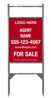 "real estate gray Angle Iron sign Frame and panel unit for 2 Rider Inserts, 24ga steel 24""x18"""