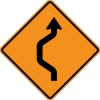 W24-1L Double Reverse Curve Left (1 Lane)-Temporary Traffic Control Sign