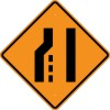 W4-2L Lane Ends (Left)-Temporary Traffic Control Sign