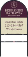 real estate black arc sign frame for one rider insert and agent panel unit, 24 GA steel 30x24