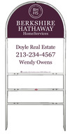 Real Estate White Arc Sign Frame for two rider inserts and agent panel unit, .150 polyethylene 30x24