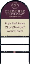 Real Estate Black Arc Sign Frame for two rider inserts and agent panel unit, .150 polyethylene 30x24