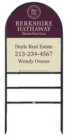 Real Estate Black Arc Sign Frame for two rider inserts and Agent Panel Unit, 24 GA steel 30x24
