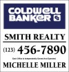 Real Estate agent hanging Sign Panel with grommets, Steel 25x24