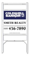 real estate angle iron sign frame and panel unit with two rider inserts,24 GA steel  25x24