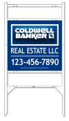 real estate angle iron sign frame and 3D panel unit with two rider inserts, .090 polyethylene  22x24