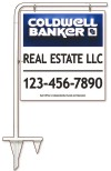real estate tube sign stake and sign panel,  .090 polyethylene 25x24