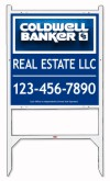 real estate angle iron sign frame and panel unit, 24 GA 25x24