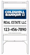 real estate angle iron sign frame and 3D panel unit with two rider inserts, 24 GA steel 25x24