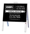 A-Frame and Open House Sign Panel Unit, 18x24, Black Design
