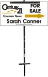 real estate agent white for sale sign panel and t-stake unit, 24 GA steel 12x24