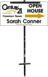 real estate agent white open house sign panel and t-stake unit, 24 GA steel 12x24