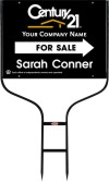 real estate agent black for sale round rod sign frame and panel unit, 24 GA steel 18x24