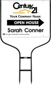 real estate agent white open house round rod sign frame and white sign panel unit, 24 GA steel 18x24