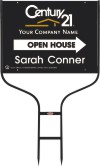 real estate agent black open house round rod sign frame and panel unit, 24 GA steel 18x24