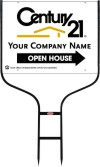real estate open house round rod sign frame and white panel unit, 24 GA steel 18x24
