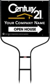 real estate open house round rod frame and black sign panel unit, 24 GA steel 18x24