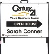 real estate open house a-frame and white sign panel unit, 24 GA steel 18x24