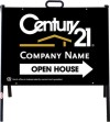 real estate open house A-frame sign and black panel unit, 24 GA steel 18x24