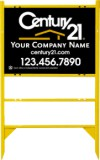 real estate gold angle iron sign frame for one rider insert and black sign panel unit, 24 GA steel 18x24