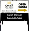 real estate fine homes agent open house A-frame and white sign panel unit,  .050 polyethylene 18x24