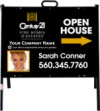 real estate fine homes photo open house a-frame and black sign panel unit, 24 GA steel 18x24