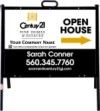 real estate fine homes agent open house a-frame and black sign panel unit, 24 GA steel 18x24