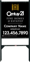 real estate Fine Homes angle iron sign frame and black panel unit, 24 GA steel 30x24