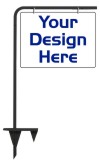 real estate tube sign stake and sign panel unit, 24 GA steel 18x24