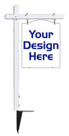real estate White Aluminum Sign Post and Luxury Homes Hanging Sign Panel unit, .150 polyethylene, 30