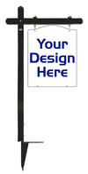 real estate Black Aluminum Sign Post and Luxury Homes Hanging Sign Panel unit, .150 polyethylene, 30