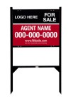 real estate black angle iron sign frame and panel unit, 24 GA steel 18x24