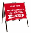 real estate open house black a-frame and sign panel unit, .050 polyethylene 18x24