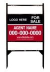 real estate black angle iron sign frame and panel unit with two rider inserts, 24 GA steel 18x24