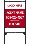 real estate black angle iron sign frame and panel unit, 24 GA steel 30x24