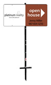 real estate agent open house angle iron sign stake and sign panel unit, 24ga steel 12x24