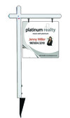 real estate aluminum sign post and sign photo panel unit, 24ga steel 24x24