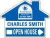 Real Estate Open House, house-shaped Panel, 4mm Corrugated Plastic 18x24