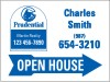 real estate agent open house sign panel with blue arrow, 24 GA steel 18x24
