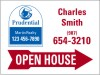 real estate agent open house sign panel with red arrow, 24 GA steel 18x24