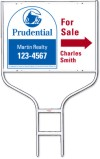 real estate agent for sale sign panel and round rod sign frame unit, 24 GA steel, 18x24