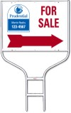 real estate for sale round rod sign frame and panel unit with red arrow, 24 GA steel 18x24