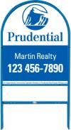 real estate blue arc sign frame for one rider insert and panel unit, .150 polyethylene 30x24